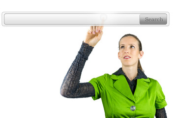 Businesswoman pointing at search bar