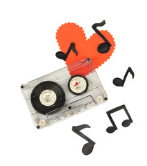 Old cassette isolated on white