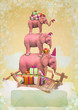 Three pink elephants in the sky with gifts. Christmas card
