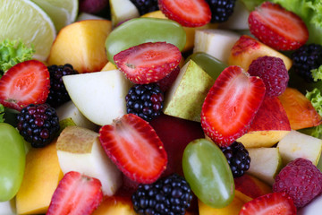 Fruit salad in plate close-up