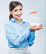 Business concept. Business woman hold paper ship.