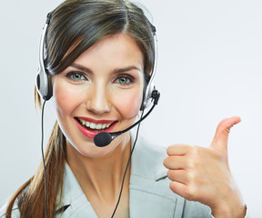 Customer support operator thumb show.  call center smiling oper