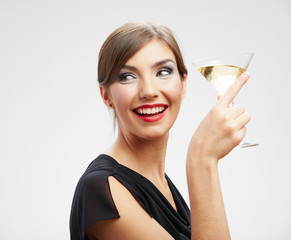 Smiling woman hold wine glass