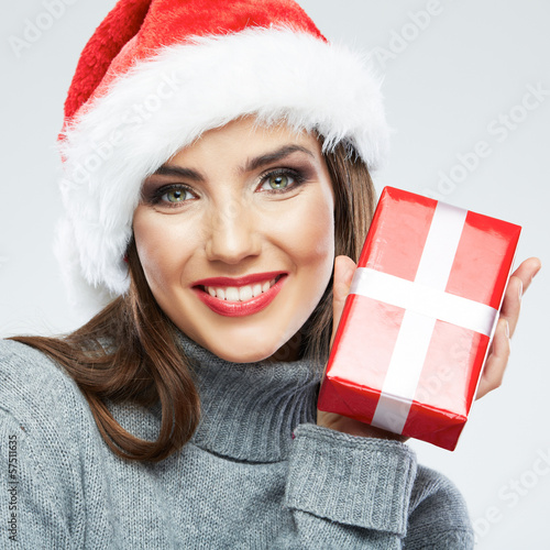 Christmas Santa hat isolated female portrait. Woman Santa. Chri