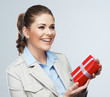 Smiling business woman red gift box hold.