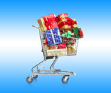 Shopping cart with gifts.