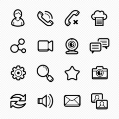Social Media line symbol Icons with White Background