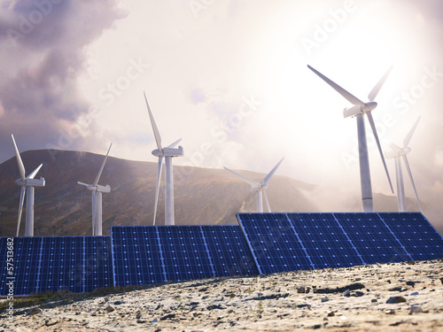 Solar power and wind generators. Renewable clean energy concept.