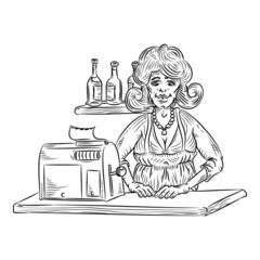 Saleswoman line