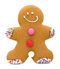 Single Christmas gingerbread man cookie isolated on white