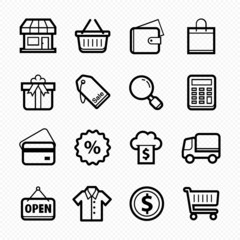Shopping line symbol and icon on white background
