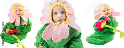 Adorable baby boy, dressed in flower costume on white