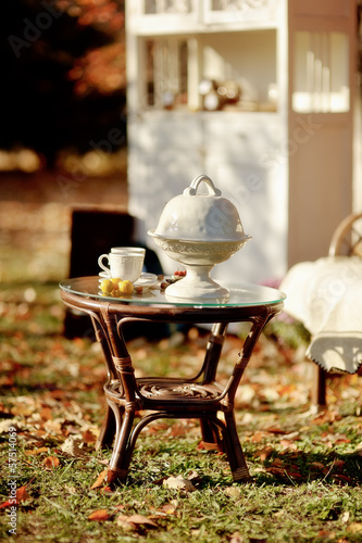 in the autumn garden is white furniture and a table with dishes