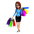 Young girl with shopping bags