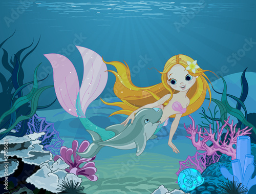 Fototapeta Mermaid and dolphin background
