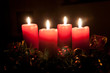 Christmas advent wreath with burning candles - 57515854