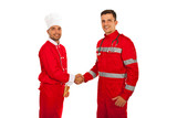 Handshake chef with paramedic