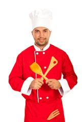 Chef with utensils