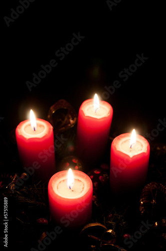 Christmas advent wreath with burning candles - 57515889