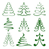 christmas trees sketch set vector  illustration