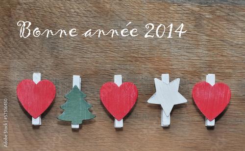Bonne année sur fond en bois