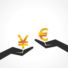 Hand hold yen and euro symbol to compare their value 3