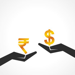 Hand hold dollar and rupee symbol to compare their value