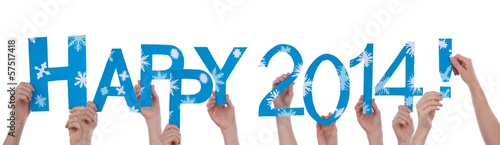 People Holding Happy 2014