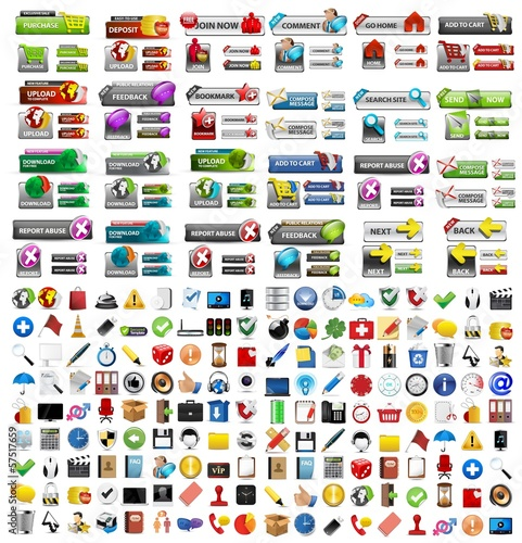 Icons Set, Web buttons, Internet & Website elements, icons
