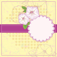 Vintage Floral Frame With Blooming Petunia.