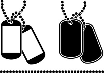 stencil of dog tags