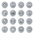 Basic contour icons on gray buttons.