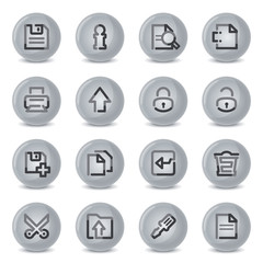 Users contour icons on gray buttons.