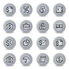 Finance contour icons on gray buttons.