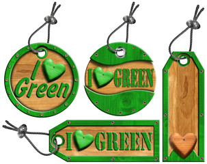 I Love Green Wooden Tags - 4 items