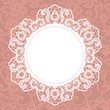 Elegant doily on lace gentle background. Scrapbook element.