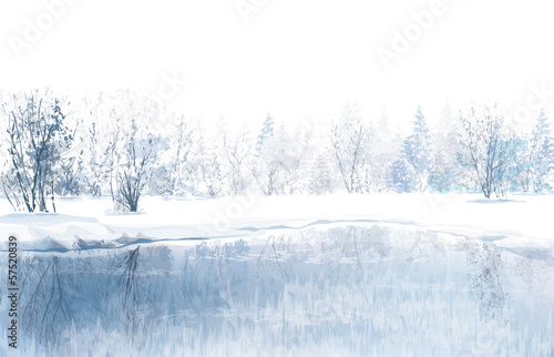 Vector of winter scene with river and forest background.
