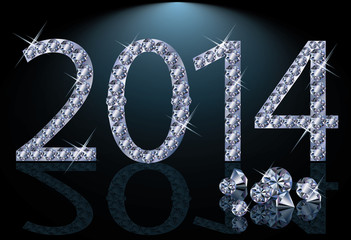 New 2014 Year with diamonds, vector illustration