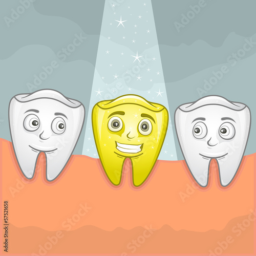 Vector illustration of a shiny gold tooth