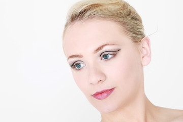 model with liquid eyeliner in studio