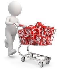 Männchen mit Einkaufswagen Rabatt