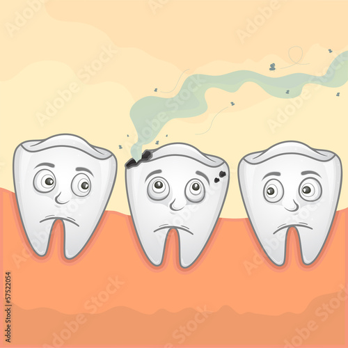 Vector Illustration of smell teeth because of caries