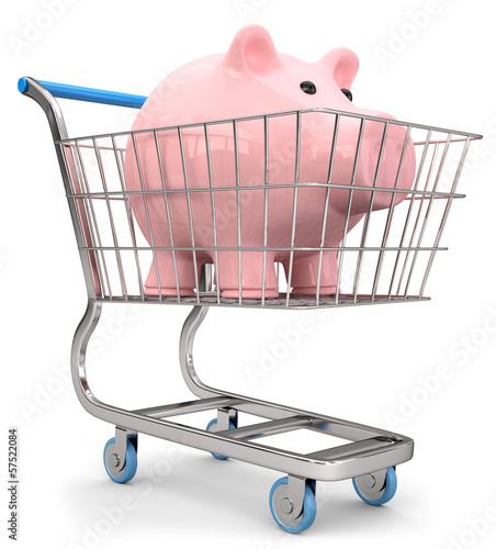 Sparschwein im Einkaufswagen
