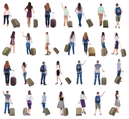 "collection "" Back view of  people with suitcase ""."