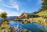 Fototapeta Krajobraz - Mountain chalet with swimming pond © mRGB