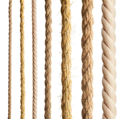 Rope isolated. Collection of different ropes on white background