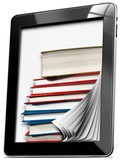 Fototapety Tablet Computer with Pages and Books
