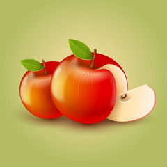 Red apples with cut. Vector illustration EPS10. Transparent