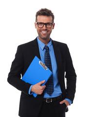 Portrait of happy businessman
