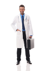 Portrait of handsome doctor with briefcase